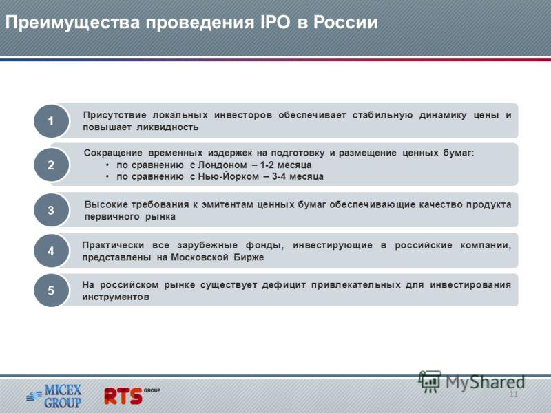 Преимущества проведения IPO в России Присутствие локальных инвесторов обеспечивает стабильную динамику цены и повышает ликвидность Сокращение временных издержек на подготовку и размещение ценных бумаг: по сравнению с Лондоном – 1-2 месяца по сравнени