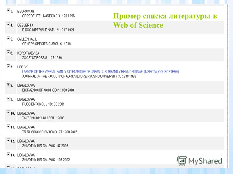 Пример списка литературы в Web of Science