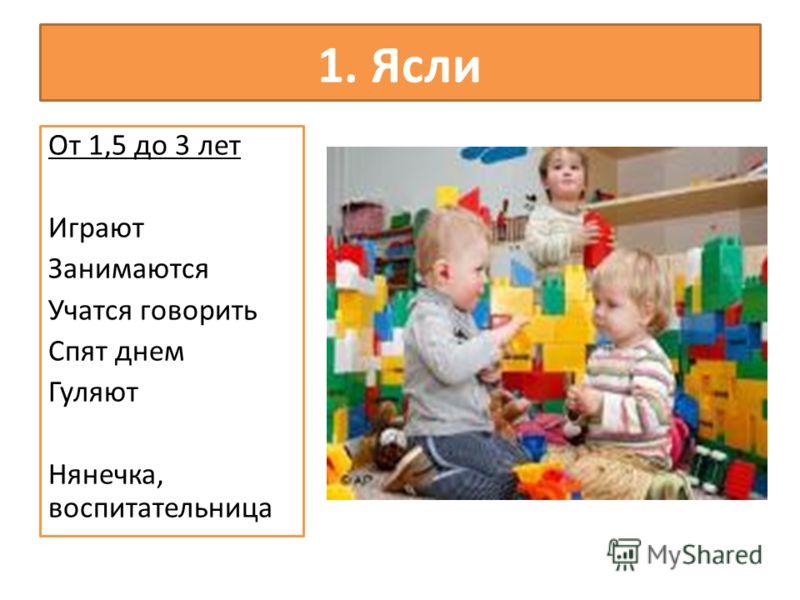 1. Ясли От 1,5 до 3 лет Играют Занимаются Учатся говорить Спят днем Гуляют Нянечка, воспитательница