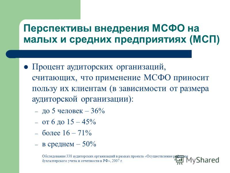 Перспективы внедрения МСФО на малых и средних предприятиях (МСП) Процент аудиторских организаций, считающих, что применение МСФО приносит пользу их клиентам (в зависимости от размера аудиторской организации): – до 5 человек – 36% – от 6 до 15 – 45% –