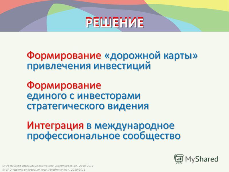 (с) Российская ассоциация венчурного инвестирования, 2010-2011 (с) ЗАО «Центр инновационного менеджмента», 2010-2011 РЕШЕНИЕ Формирование «дорожной карты» привлечения инвестиций Формирование единого с инвесторами стратегического видения Интеграция в