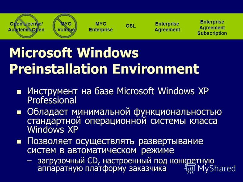 Инструмент на базе Microsoft Windows XP Professional Инструмент на базе Microsoft Windows XP Professional Обладает минимальной функциональностью стандартной операционной системы класса Windows XP Обладает минимальной функциональностью стандартной опе
