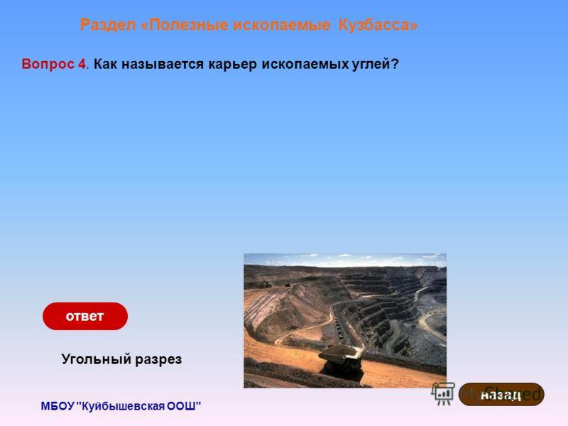 МБОУ Куйбышевская ООШ Раздел «Полезные ископаемые Кузбасса» Вопрос 4. Как называется карьер ископаемых углей? Угольный разрез назад ответ