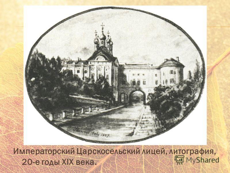 Императорский Царскосельский лицей, литография, 20-е годы XIX века.