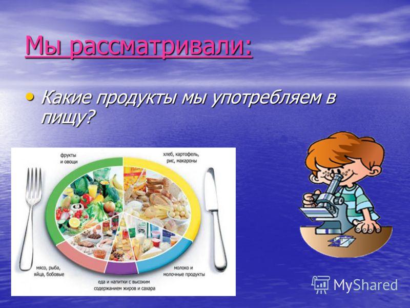 Мы рассматривали: Какие продукты мы употребляем в пищу?