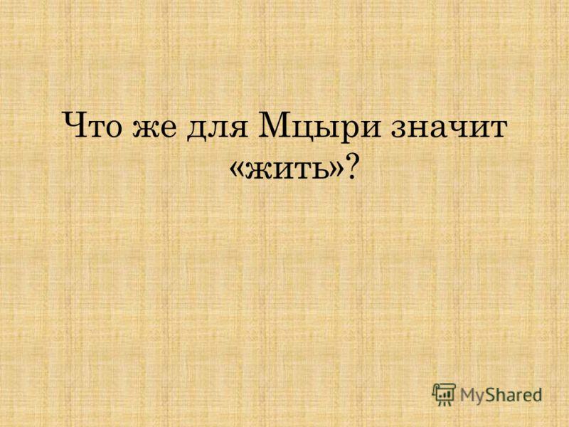 Что же для Мцыри значит «жить»?
