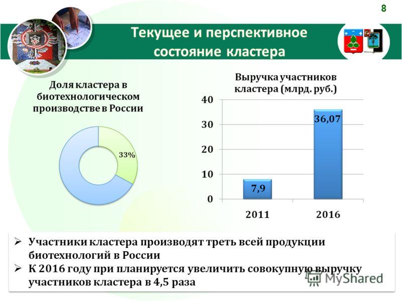8 Участники кластера производят треть всей продукции биотехнологий в России К 2016 году при планируется увеличить совокупную выручку участников кластера в 4,5 раза Участники кластера производят треть всей продукции биотехнологий в России К 2016 году
