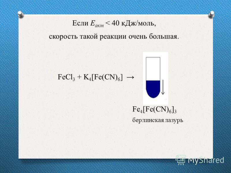 14 Если Е акт < 40 кДж/моль, скорость такой реакции очень большая. FeCl 3 + K 4 [Fe(CN) 6 ] Fe 4 [Fe(CN) 6 ] 3 берлинская лазурь