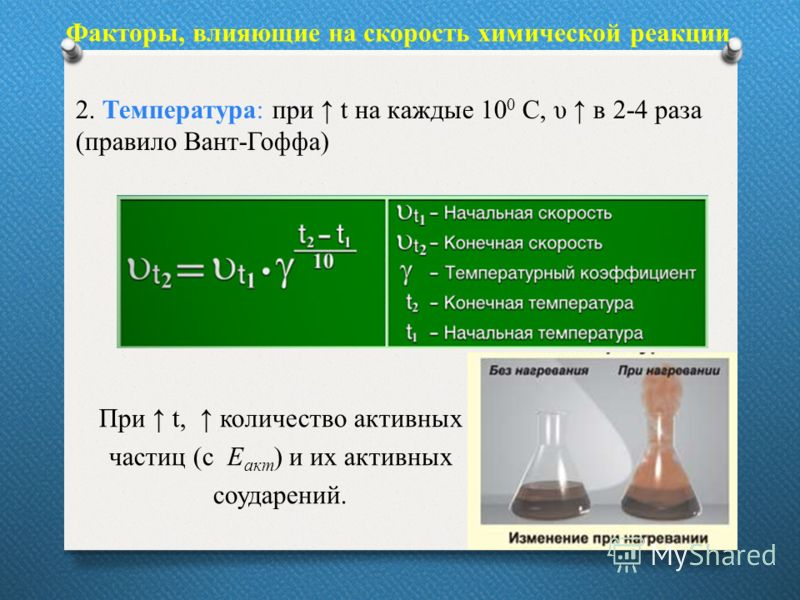 Факторы, влияющие на скорость химической реакции 2. Температура: при t на каждые 10 0 С, υ в 2-4 раза (правило Вант-Гоффа) При t, количество активных частиц (с Е акт ) и их активных соударений.