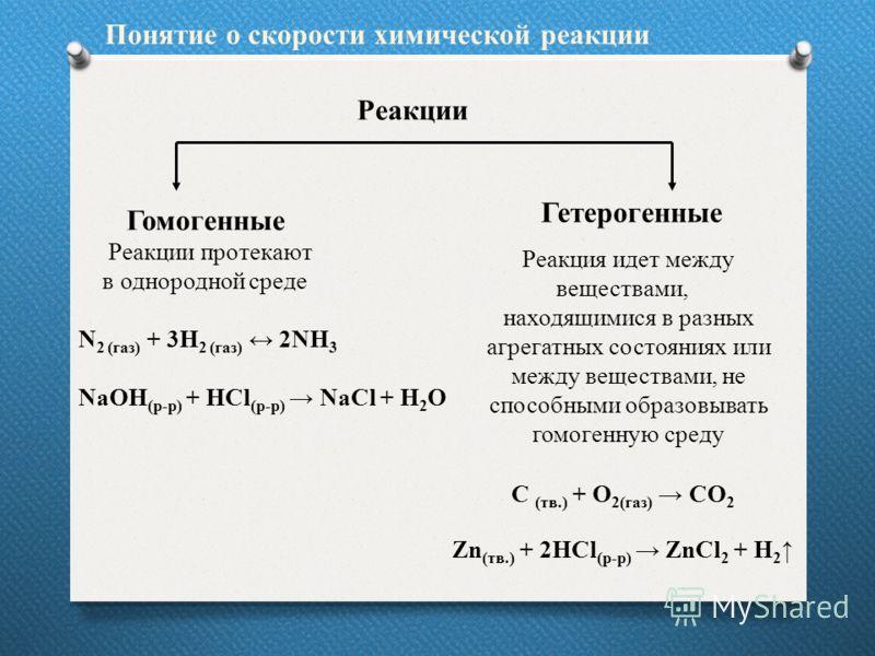 Реакции Гомогенные Реакции протекают в однородной среде N 2 (газ) + 3H 2 (газ) 2NH 3 NaOH (р-р) + HCl (р-р) NaCl + H 2 O Гетерогенные Реакция идет между веществами, находящимися в разных агрегатных состояниях или между веществами, не способными образ