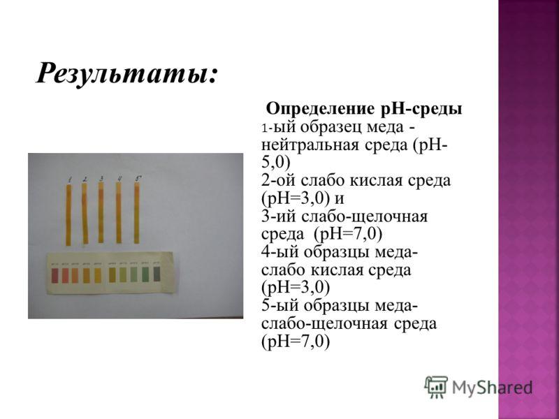 Определение pH-среды 1- ый образец меда - нейтральная среда (pH- 5,0) 2-ой слабо кислая среда (pH=3,0) и 3-ий слабо-щелочная среда (pH=7,0) 4-ый образцы меда- слабо кислая среда (pH=3,0) 5-ый образцы меда- слабо-щелочная среда (pH=7,0)