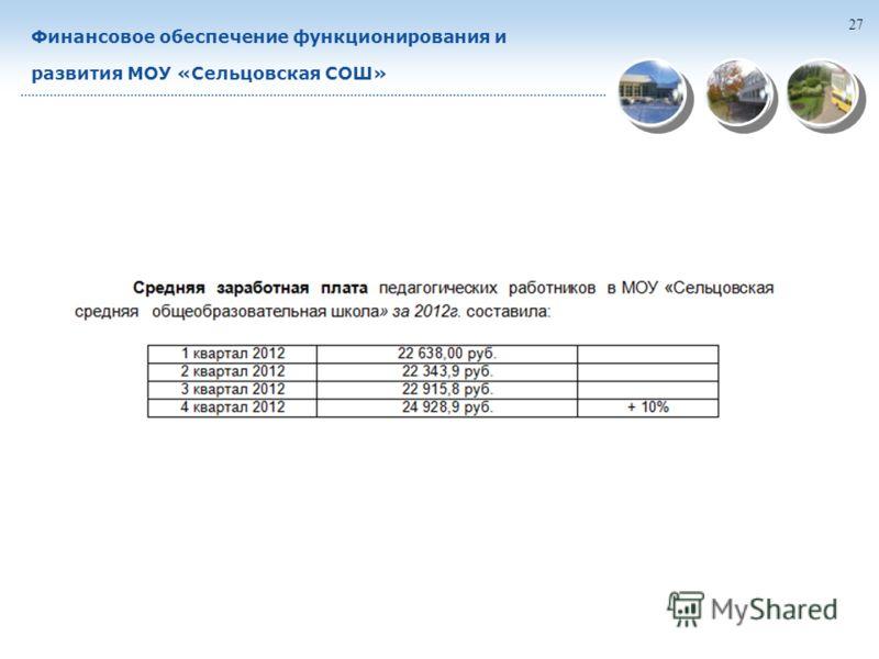 27 Финансовое обеспечение функционирования и развития МОУ «Сельцовская СОШ»
