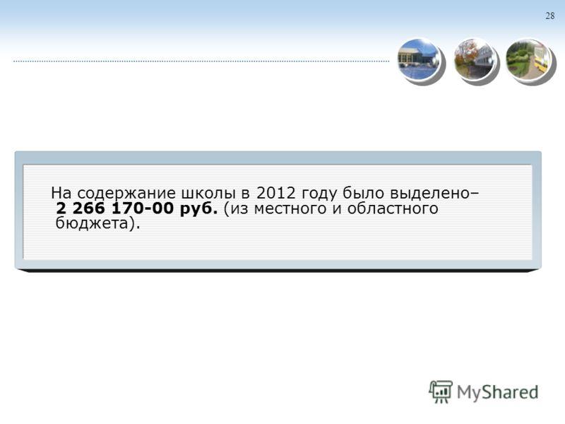 28 На содержание школы в 2012 году было выделено– 2 266 170-00 руб. (из местного и областного бюджета).