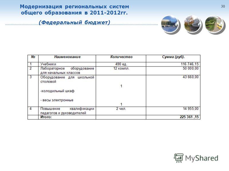 30 Модернизация региональных систем общего образования в 2011-2012гг. (Федеральный бюджет)