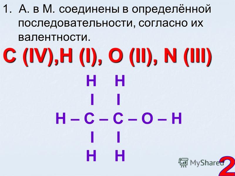 1. А. в М. соединены в определённой последовательности, согласно их валентности. С (IV),Н (I), О (II), N (III) Н I I H – C – C – O – H I I H H