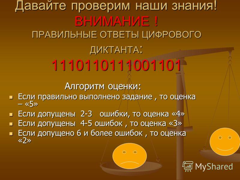 Давайте проверим наши знания! ВНИМАНИЕ ! ПРАВИЛЬНЫЕ ОТВЕТЫ ЦИФРОВОГО ДИКТАНТА : 1110110111001101 Алгоритм оценки: Если правильно выполнено задание, то оценка – «5» Если правильно выполнено задание, то оценка – «5» Если допущены 2-3 ошибки, то оценка