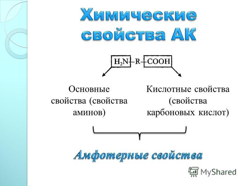 Основные свойства (свойства аминов) Кислотные свойства (свойства карбоновых кислот)