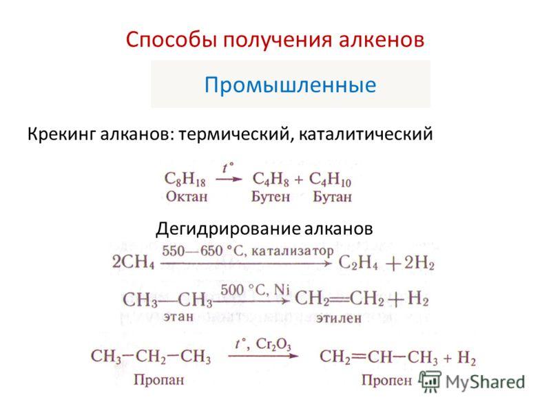 Способы получения алкенов Промышленные Крекинг алканов: термический, каталитический Дегидрирование алканов