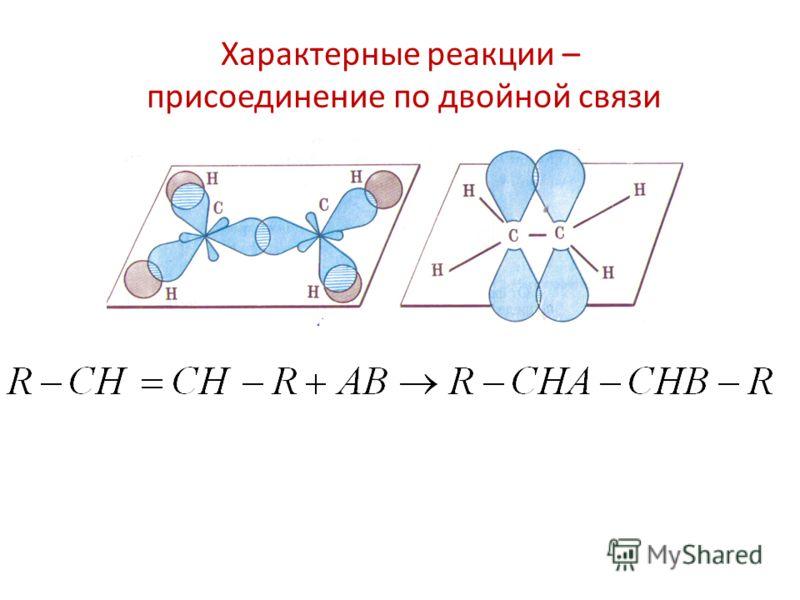 Характерные реакции – присоединение по двойной связи