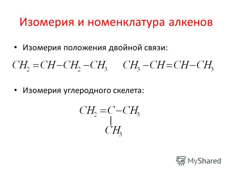 Изомерия и номенклатура алкенов Изомерия положения двойной связи: Изомерия углеродного скелета: