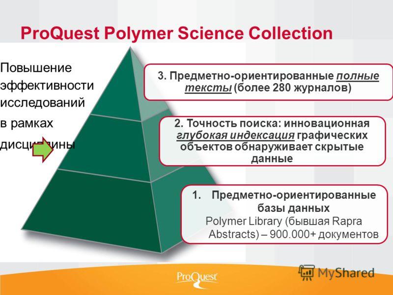 3. Предметно-ориентированные полные тексты (более 280 журналов) 2. Точность поиска: инновационная глубокая индексация графических объектов обнаруживает скрытые данные 1.Предметно-ориентированные базы данных Polymer Library (бывшая Rapra Abstracts) –