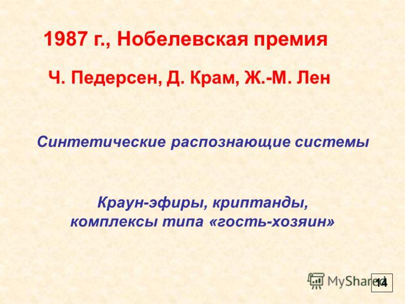 14 1987 г., Нобелевская премия Ч. Педерсен, Д. Крам, Ж.-М. Лен Синтетические распознающие системы Краун-эфиры, криптанды, комплексы типа «гость-хозяин»