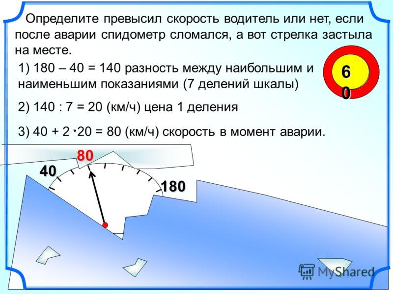 180 40 60606060 Определите превысил скорость водитель или нет, если после аварии спидометр сломался, а вот стрелка застыла на месте. 1) 180 – 40 = 140 разность между наибольшим и наименьшим показаниями (7 делений шкалы) 2) 140 : 7 = 20 (км/ч) цена 1