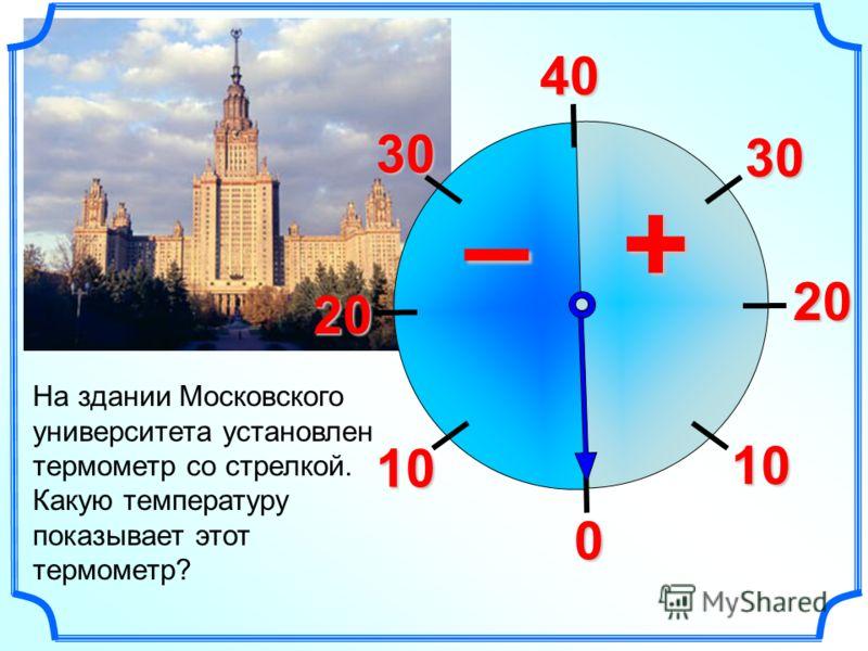 4030 20 10 0 10 20 30 +– На здании Московского университета установлен термометр со стрелкой. Какую температуру показывает этот термометр?