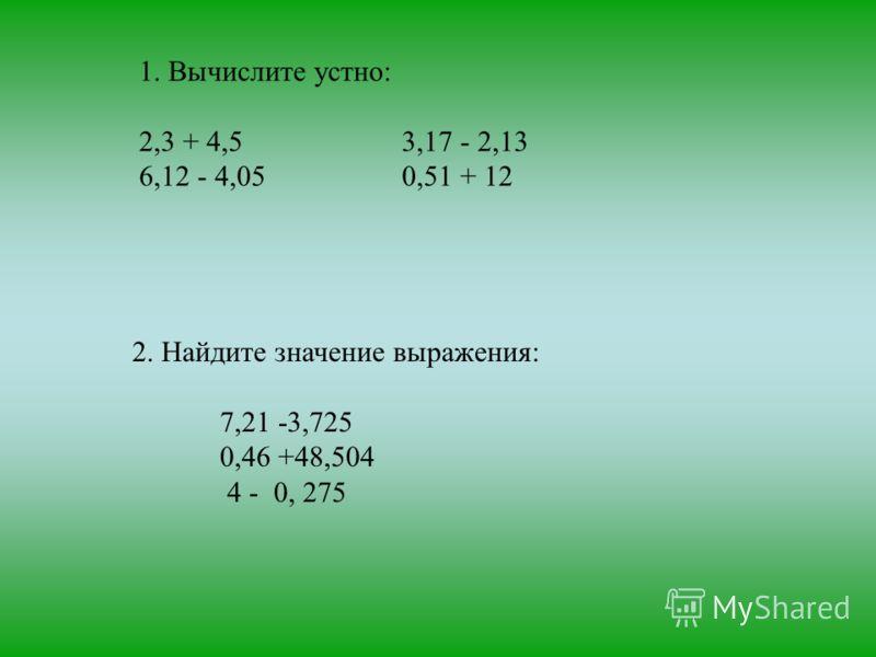1. Вычислите устно: 2,3 + 4,53,17 - 2,13 6,12 - 4,050,51 + 12 2. Найдите значение выражения: 7,21 -3,725 0,46 +48,504 4 - 0, 275