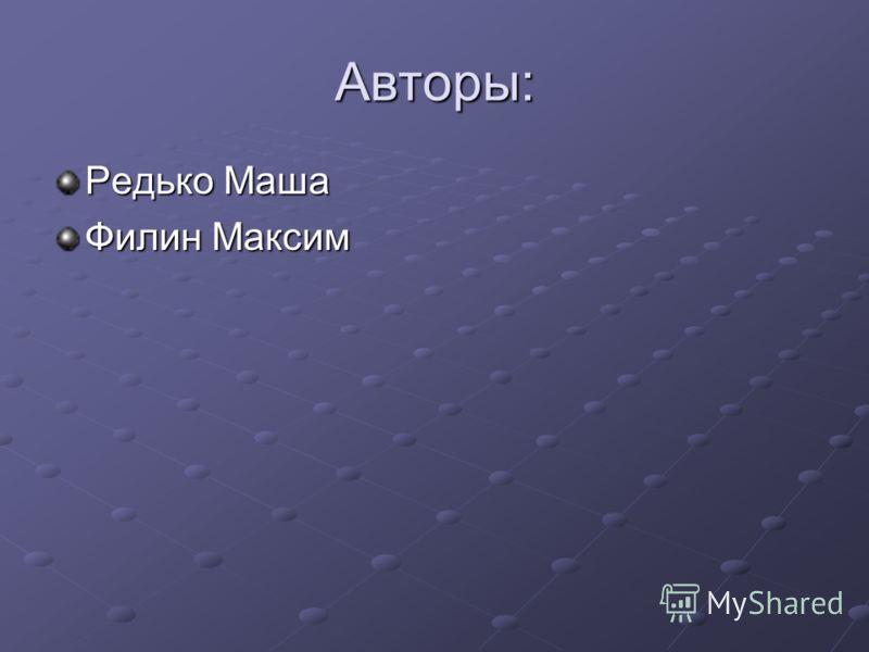 Авторы: Редько Маша Филин Максим