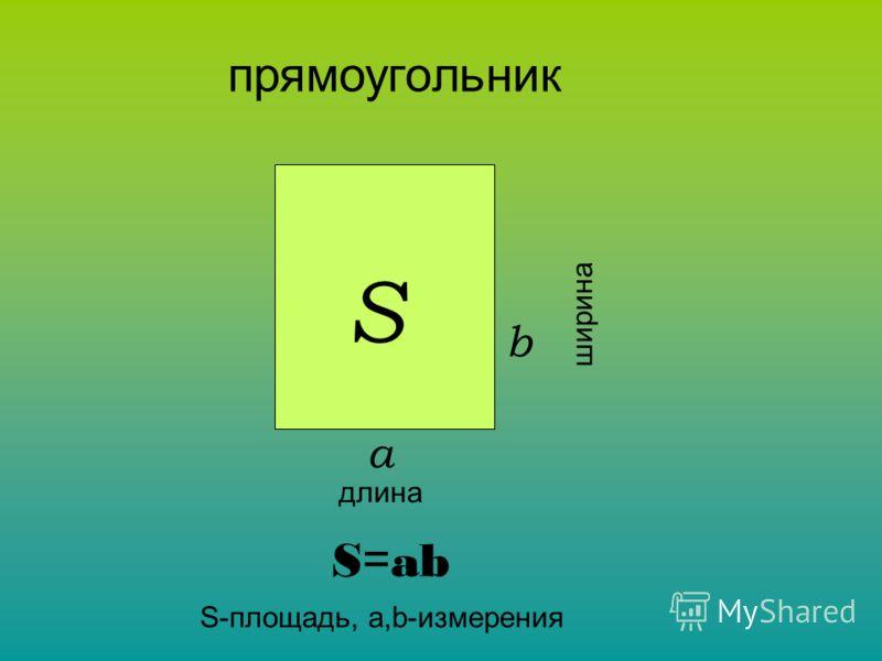 длина ширина а b S прямоугольник S = ab S-площадь, a,b-измерения