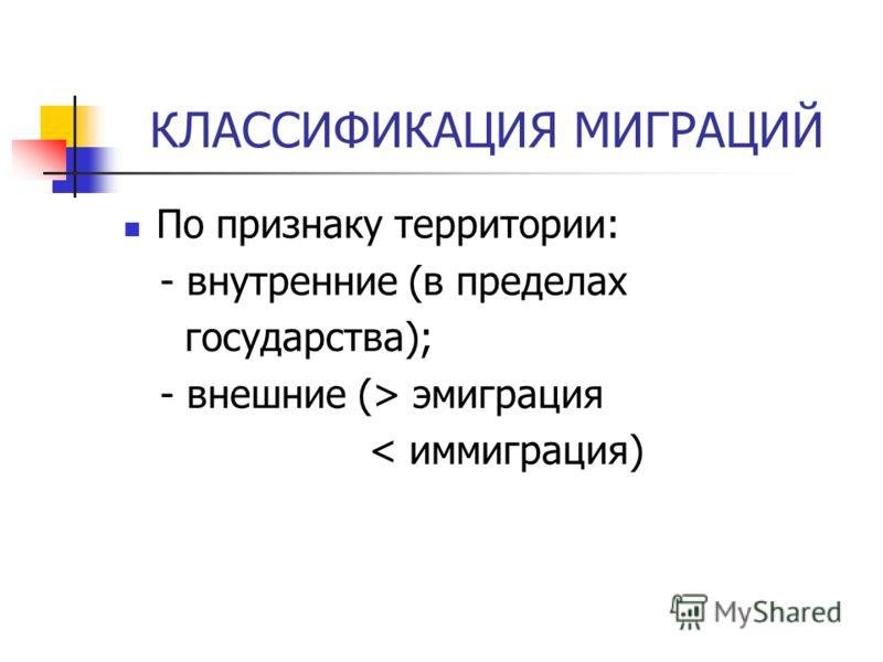 КЛАССИФИКАЦИЯ МИГРАЦИЙ По признаку территории: - внутренние (в пределах государства); - внешние (> эмиграция < иммиграция)