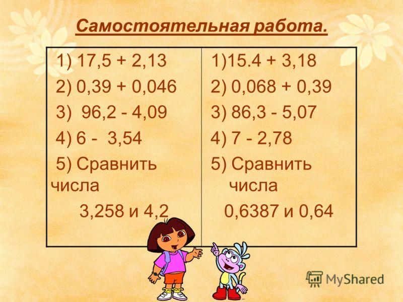 Самостоятельная работа. 1) 17,5 + 2,13 2) 0,39 + 0,046 3) 96,2 - 4,09 4) 6 - 3,54 5) Сравнить числа 3,258 и 4,2 1)15.4 + 3,18 2) 0,068 + 0,39 3) 86,3 - 5,07 4) 7 - 2,78 5) Сравнить числа 0,6387 и 0,64