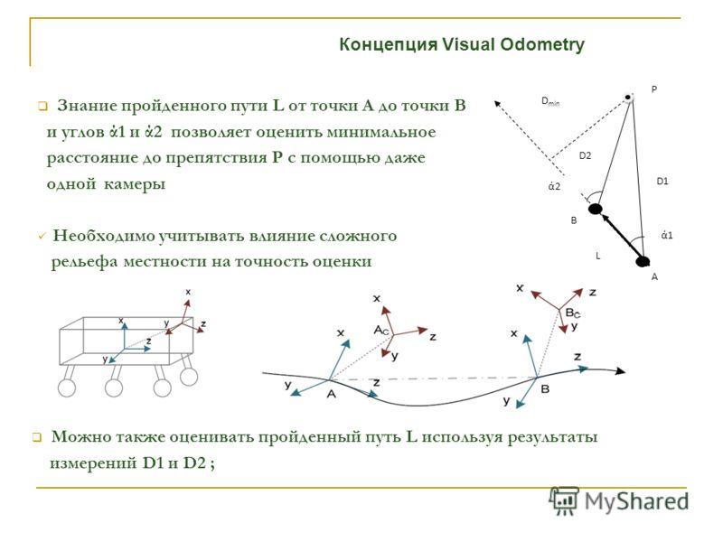Концепция Visual Odometry Знание пройденного пути L от точки А до точки В и углов ά1 и ά2 позволяет оценить минимальное расстояние до препятствия P с помощью даже одной камеры Необходимо учитывать влияние сложного рельефа местности на точность оценки