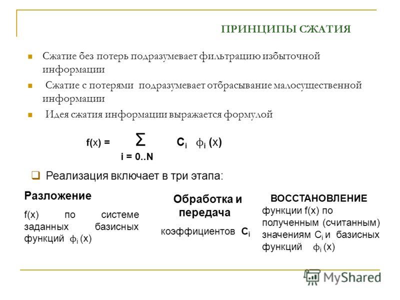 Сжатие без потерь подразумевает фильтрацию избыточной информации Сжатие с потерями подразумевает отбрасывание малосущественной информации Идея сжатия информации выражается формулой f(x) = Σ С i ϕ i (x) i = 0..N ПРИНЦИПЫ СЖАТИЯ Реализация включает в т
