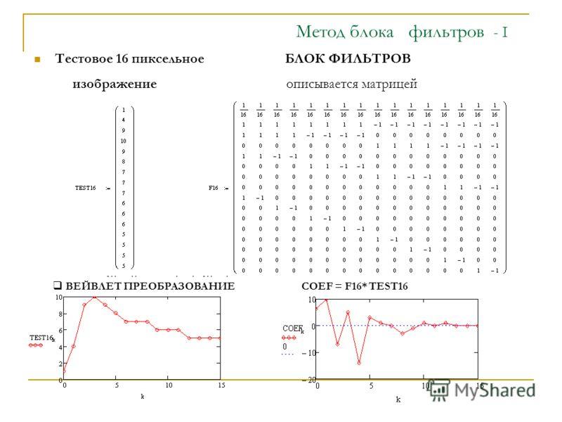 - I Мeтод блока фильтров - I Тестовое 16 пиксельное БЛОК ФИЛЬТРОВ изображение описывается матрицей ВЕЙВЛЕТ ПРЕОБРАЗОВАНИЕ СOEF = F16* TEST16