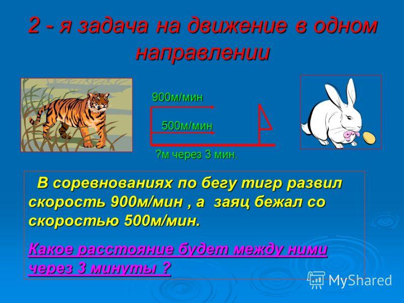 2 - я задача на движение в одном направлении 900м/мин 500м/мин В соревнованиях по бегу тигр развил скорость 900м/мин, а заяц бежал со скоростью 500м/мин. Какое расстояние будет между ними через 3 минуты ? ?м через 3 мин.