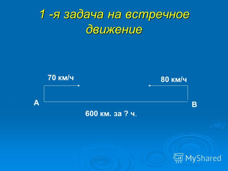 1 -я задача на встречное движение А В 70 км/ч 80 км/ч 600 км. за ? ч.