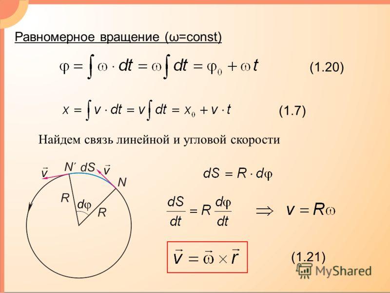 Равномерное вращение (ω=const) (1.20) (1.7) (1.21) Найдем связь линейной и угловой скорости