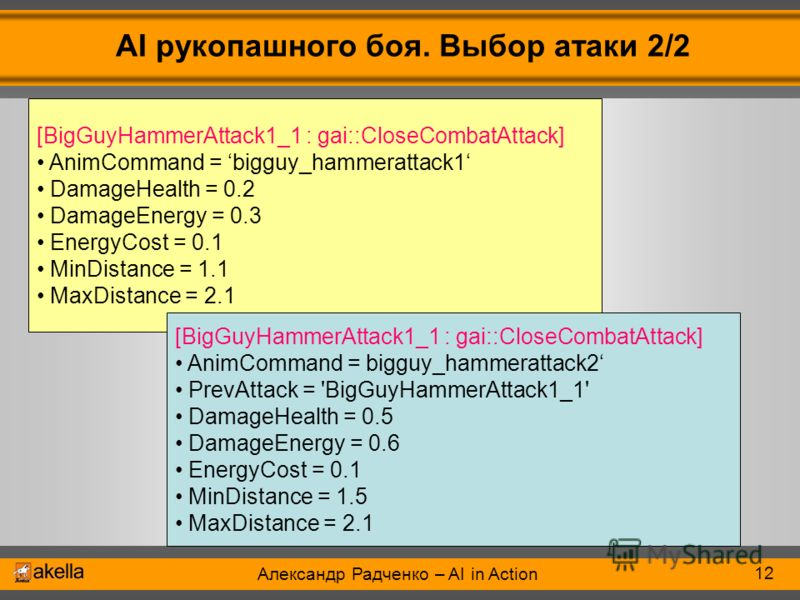Александр Радченко – AI in Action AI рукопашного боя. Выбор атаки 2/2 12 [BigGuyHammerAttack1_1 : gai::CloseCombatAttack] AnimCommand = bigguy_hammerattack1 DamageHealth = 0.2 DamageEnergy = 0.3 EnergyCost = 0.1 MinDistance = 1.1 MaxDistance = 2.1 [B