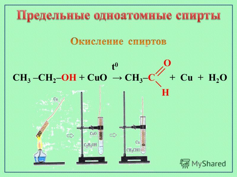 CH 3 –CH 2 –OH + CuO CH 3 –C + Cu + H 2 O t0t0 O H