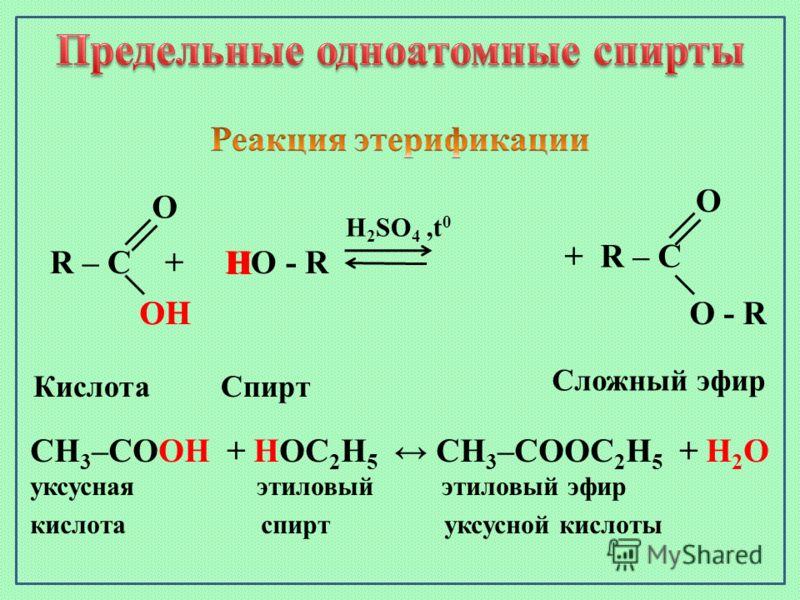 R – C + HO - R H 2 SO 4,t 0 O ОHОHOH H КислотаСпирт Сложный эфир CH 3 –CОOH + HОC 2 H 5 CH 3 –СООC 2 H 5 + H 2 О уксусная этиловый этиловый эфир кислота спирт уксусной кислоты + R – C О - R O