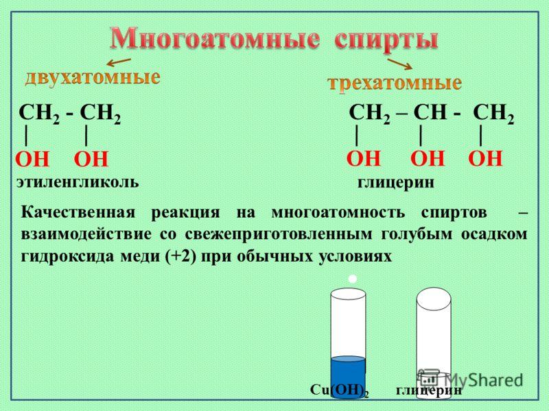 Cu(OH) 2 глицерин СН 2 - СН 2 ОН ОН этиленгликоль СН 2 – СН - СН 2 ОН ОН ОН глицерин Качественная реакция на многоатомность спиртов – взаимодействие со свежеприготовленным голубым осадком гидроксида меди (+2) при обычных условиях