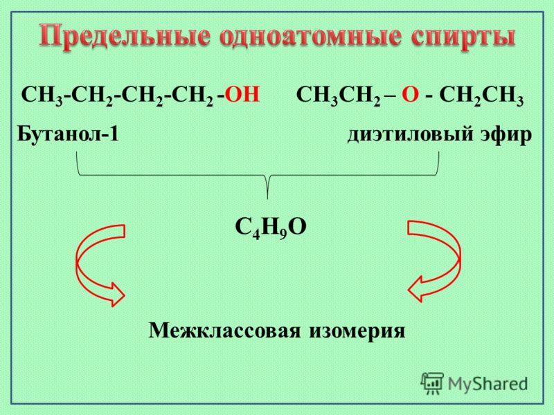 СН 3 СН 2 – О - СН 2 СН 3 Бутанол-1 диэтиловый эфир СН 3 -СН 2 -СН 2 -СН 2 -ОН С4Н9ОС4Н9О Межклассовая изомерия