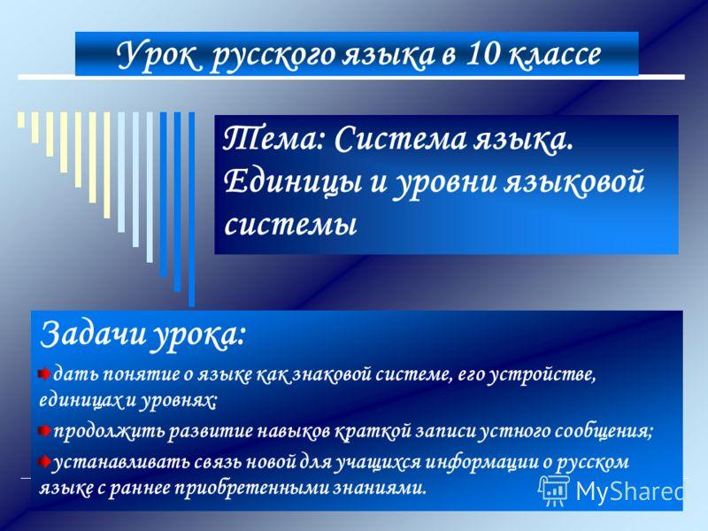 Урок русского языка в 10 классе Тема: Система языка. Единицы и уровни языковой системы Задачи урока: дать понятие о языке как знаковой системе, его ус