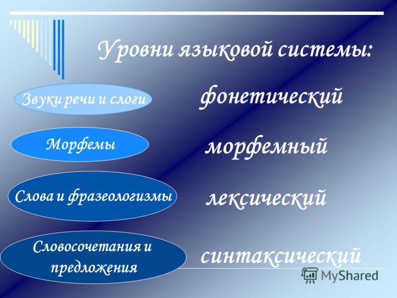 Уровни языковой системы: Звуки речи и слоги Морфемы Слова и фразеологизмы Словосочетания и предложения фонетический морфемный лексический синтаксическ