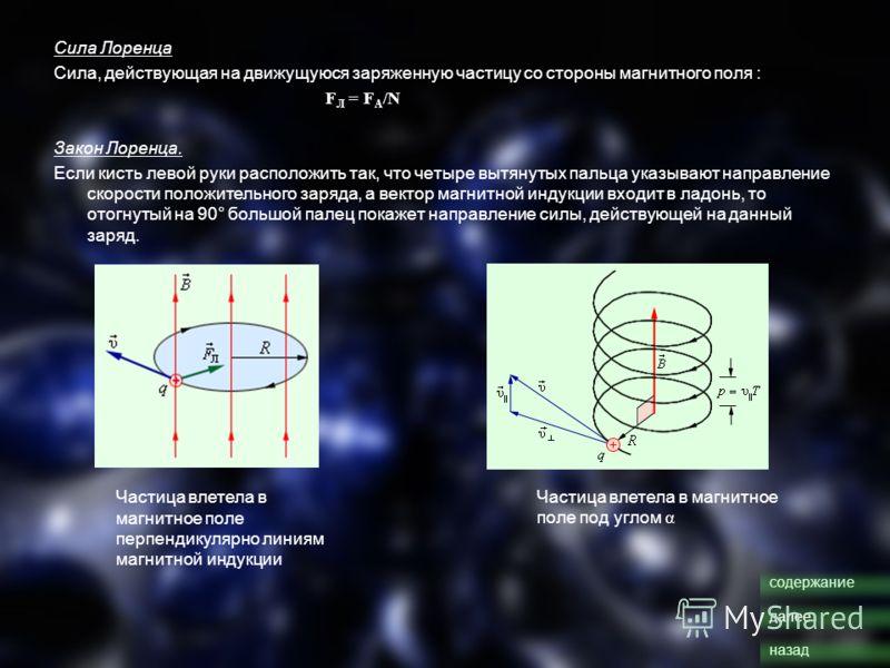 Сила Лоренца Сила, действующая на движущуюся заряженную частицу со стороны магнитного поля : F Л = F A /N Закон Лоренца. Если кисть левой руки расположить так, что четыре вытянутых пальца указывают направление скорости положительного заряда, а вектор