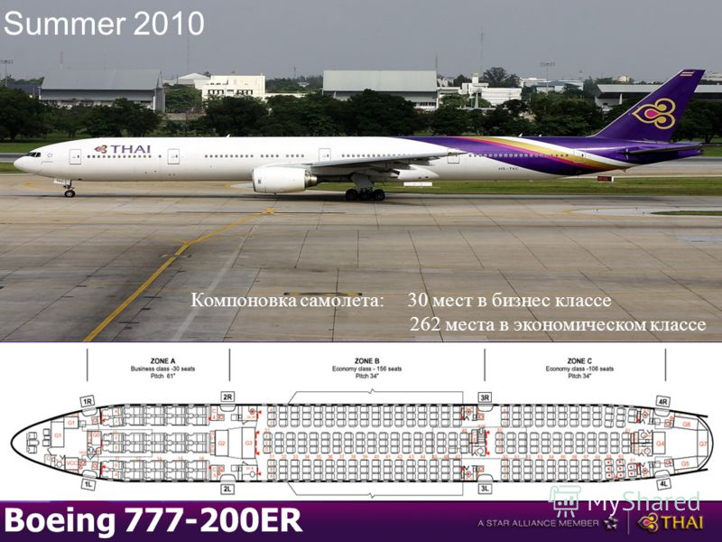 Boeing 777-200ER Компоновка самолета:30 мест в бизнес классе 262 места в экономическом классе Summer 2010