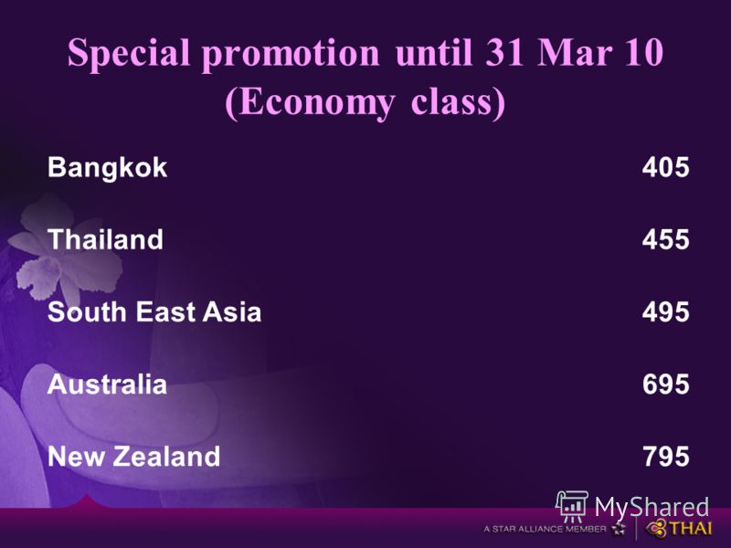 Special promotion until 31 Mar 10 (Economy class) Bangkok405 Thailand455 South East Asia495 Australia695 New Zealand795