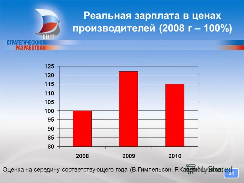 21 Реальная зарплата в ценах производителей (2008 г – 100%) Оценка на середину соответствующего года (В.Гимпельсон, Р.Капелюшников)